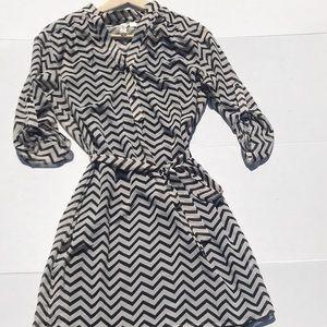 Tacera Chevron Sheer Layered Dress w/ Tie Waist